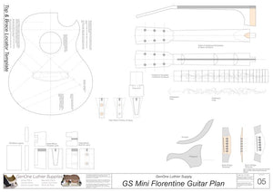 GS Mini Florentine Guitar, Template Sheet