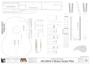 HD28vs 12-Fret V-Brace Guitar, Template Sheet