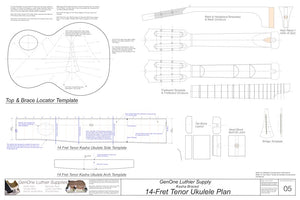 14-Fret Tenor Kasha Braced Ukulele Plans, Template Sheet