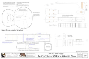 Tenor 14 V-Brace Ukulele, Template Sheet