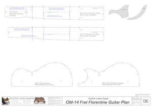 OM 14-Fret Florentine Guitar Plans Template Sheet 2