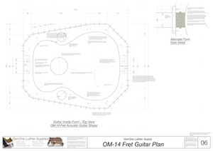 OM-14 Fret Guitar Plans Inside Form Top View, Alternate Gate Detail