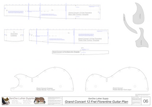 Grand Concert 12 Fret Florentine Guitar Plans Template Sheet #2