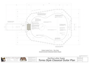 Classical Guitar Plans - Torres Bracing Inside Form Top View