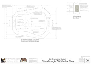 Dreadnought 3/4 Guitar Plans Inside Form Plan, Alternate Gate Detail