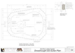 Dreadnought SS Guitar Plans Inside Form Top View, Optional Gate Detail
