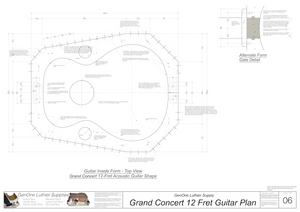 Grand Concert 12-Fret Guitar Plans Inside Form Top View Alternate Gate