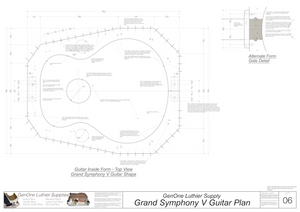 Grand Symphony V-Brace Guitar Plans Guitar Plans Inside Form Top View Alternate Gate