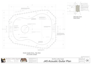J45 Guitar Plans Inside Form Top View & Gate Option