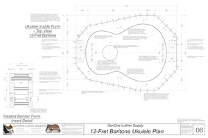 Baritone 12 Ukulele Plans Inside Form Top View, Insert Detail