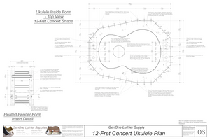 Concert 12 Ukulele Plans Inside Form Top View, Insert Detail