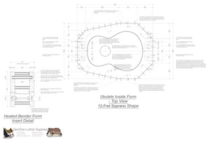 Soprano 12 Ukulele Plans Inside Form Top View, Insert Detail