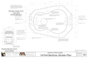 Baratone 14 Ukulele Plans Inside Form Top View, Insert Detail