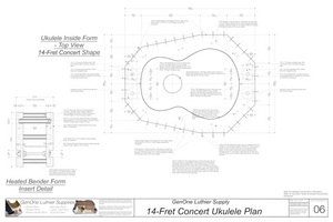 Concert 14 Ukulele Plans Inside Form Top View, Insert Detail