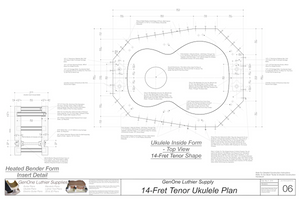 Tenor 14 Ukulele Plans Inside Form Top View, Insert Detail