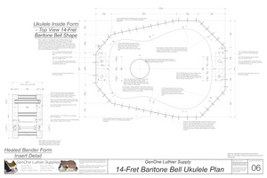 Baritone 14 Bell Ukulele Plans Inside Form Top View, Insert Detail