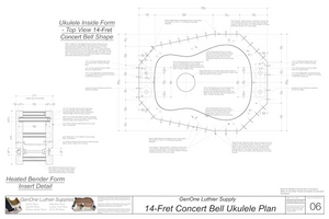 Concert 14 Bell Ukulele Plans Inside Form Top View, Insert Detail