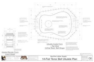 Tenor 14 Bell Shaped Ukulele Plans Inside Form Top View, Insert Detail