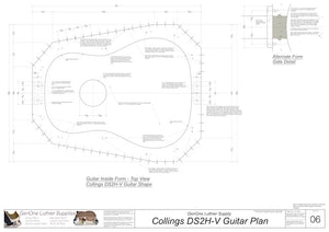 Collings DS2H V-Brace Guitar, Inside Form, Top View
