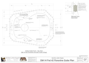 OM 12-Fret 42 Florentine Guitar Plan, Inside Form Top View
