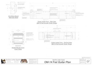 OM-14 Fret Guitar Plans Inside Form Side Views