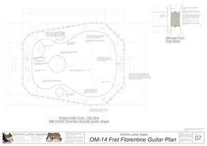 OM 14-Fret Florentine Guitar Plans Inside Form Plan, Alternate Gate Detail