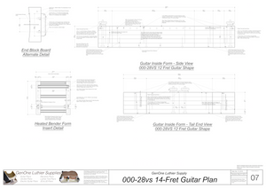 000-28vs 14 Fret Guitar Plans Guitar Plans Inside Form Side Views