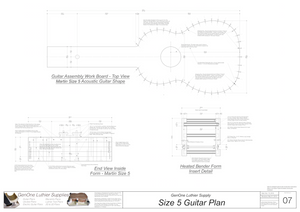 Size 5 Guitar Plans Workboard & Heated Bender Form Inserts