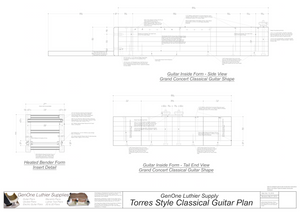 Classical Guitar Plans - Torres Bracing Inside Form Side Views