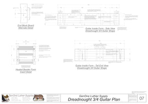 Dreadnought 3/4 Guitar Plans Inside Form Side Views
