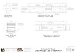 Dreadnought SS Guitar Plans Inside Form Side Views