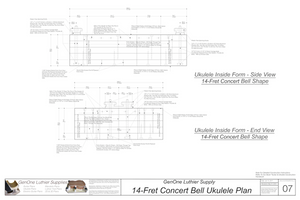 Concert 14 Bell Ukulele Plans Inside Form Side Views