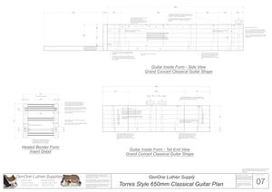 Classical Guitar Plans - Torres Bracing 650mm Form Package Front and Side Views