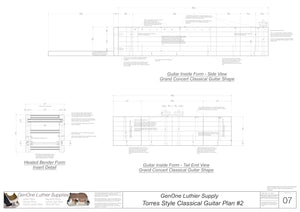 Classical Guitar Plans - Torres 2 Bracing Form Package Front and Side Views