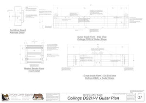 Collings DS2H V-Brace Guitar, Inside Form, Front & Side Views