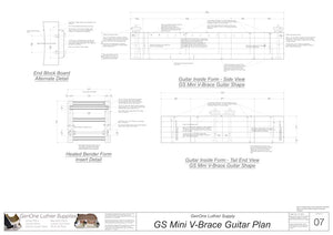 GS Mini V-Brace Guitar Form Package Front and Side Views