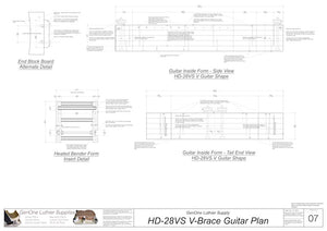 HD28vs 12-Fret V-Brace Guitar, Inside Form, Front & Side Views