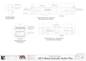 J45 V-Brace Guitar, Inside View, Front and Side Views