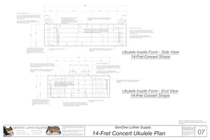 Concert 14 Ukulele Form Package Front and Side Views