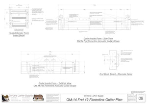 OM 12-Fret 42 Florentine Guitar Plan, Inside Form, Side & Front Views