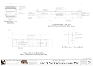 OM 14-Fret Florentine Guitar Plans Inside Form Side Views