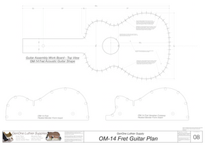 OM-14 Fret Guitar Plans Workboard & Heated Bender Form Inserts