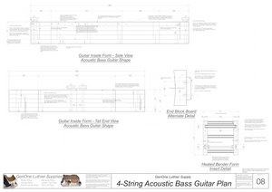 4-String Acoustic Bass Guitar Plans inside form side view, end view, form insert detail