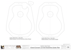 Grand Concert 12 Fret Florentine Guitar Plans Inside Form Layouts