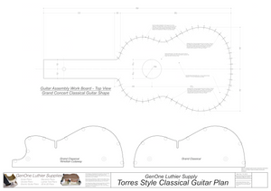 Classical Guitar Plans - Torres Bracing Workboard & Heated Bender Form Inserts