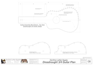 Dreadnought 3/4 Guitar Plans Workboard & Heated Bender Form Inserts