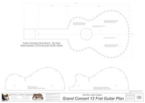 Grand Concert 12-Fret Guitar Plans Workboard & Heated Bender Form Inserts