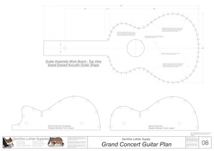 Grand Concert Guitar Plans Workboard & Heated Bender Form Inserts