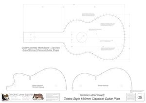 Classical Guitar Plans - Torres Bracing 650mm Form Package Workboard