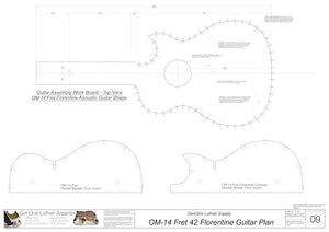 OM 12-Fret 42 Florentine Guitar Plan, Workboard